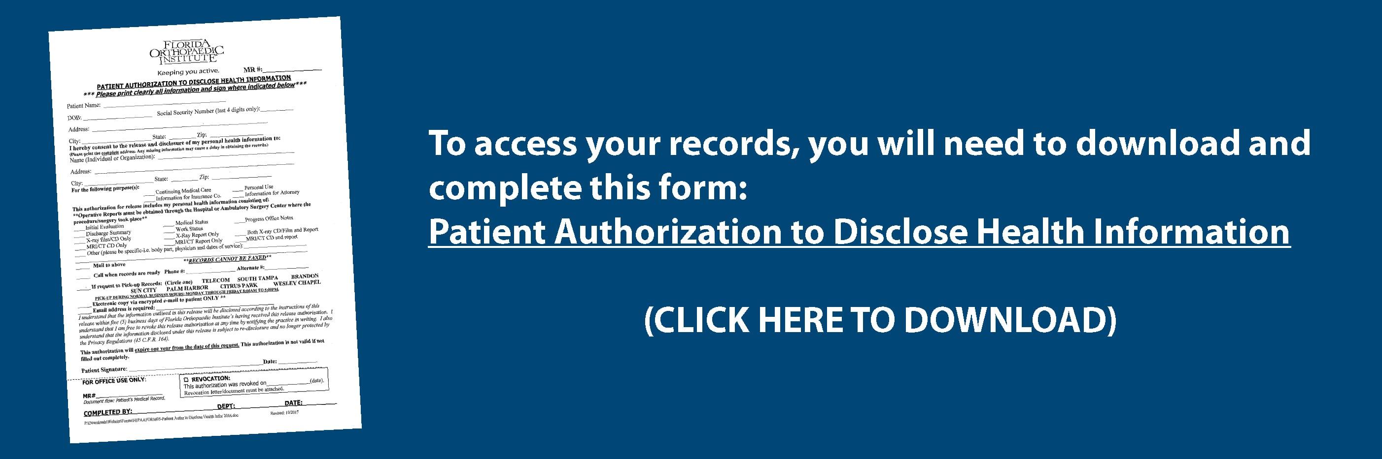 Medical Records | Florida Orthopaedic Institute