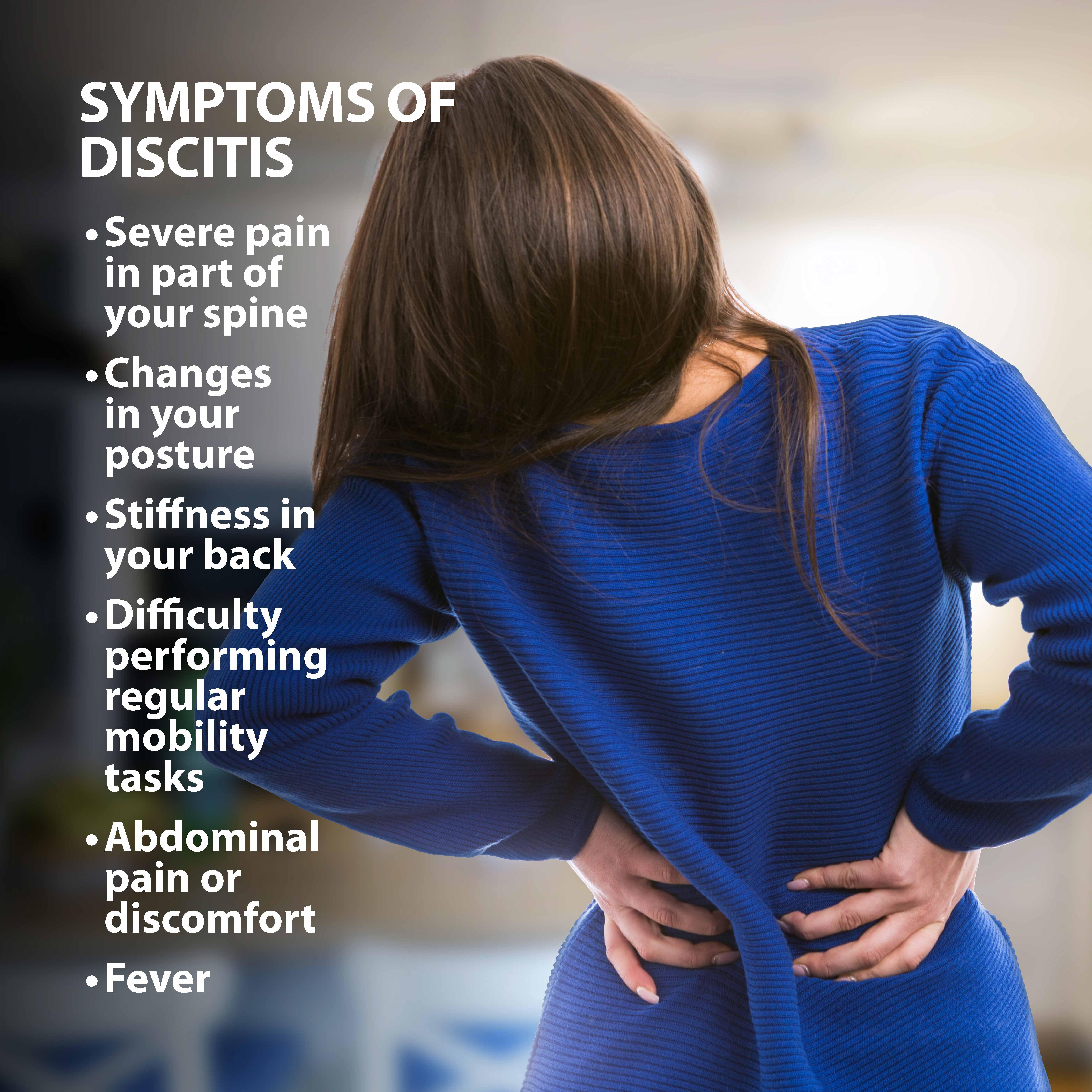 Symptoms of discitis graphic